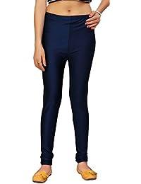 Comix Women Cotton Lycra Fabric Comfort Fit Ankle Length Plain Leggings (Deep Blue,XL)