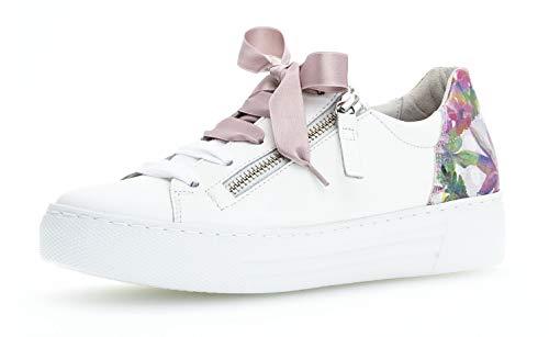 Gabor 26.466 Damen Sneaker,Low-Top,Business Sneaker,Halbschuh,Schnürschuh,Strassenschuh,sportlich,Freizeitschuh,Comfort-Mehrweite,Reißverschluss,Optifit- Wechselfußbett,Weiss/Rose,6 UK