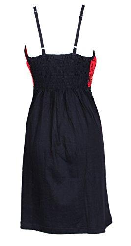 Dress slittamento blu delle donne con coloratissimi Mandala Punteggiato ricamo Rosso