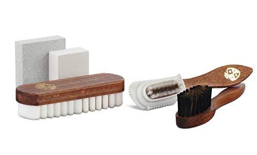 Langer & Messmer Langer & Messmer 5-teiliges Pflegeset für Rauleder inkl. Schuhbürsten und Reinigungsgummi für die professionelle Velourslederpflege
