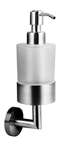 Ambrosya | Exklusiver Seifenspender aus Edelstahl | Bad Badezimmer Glas Halter Halterung Seife Seifenhalter Seifenhalterung Seifenschale Spender Toilette Wand WC (Edelstahl (Gebürstet))