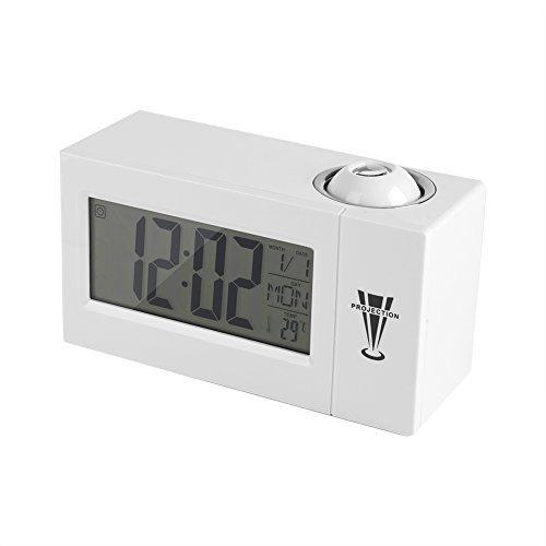 Reloj de Proyección Pantalla LCD Control de Sonido Proyección Luz de Fondo de Pared de Techo Reloj de Alarma de Temperatura de Fecha (Blanco)