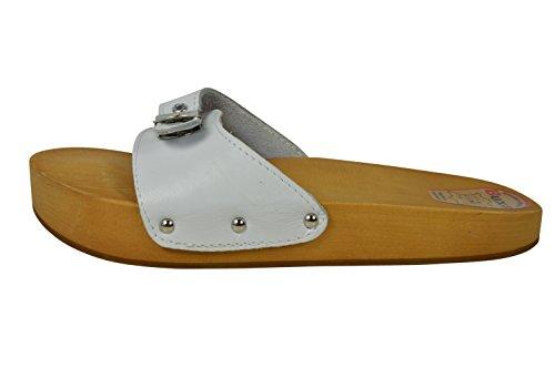 Buxa Damen Anti-Cellulite und Rückenschmerzen Holz und Leder Sandalen / Clogs Weiß