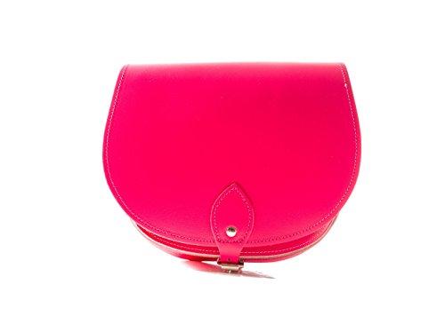 Brillante rosa de la frambuesa de cuero real cuerpo de la cruz de una silla del bolso con correa ajustable y Cierre Hebilla