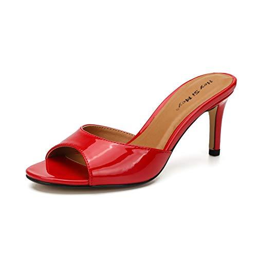 Damen Stilettos Peep-Toe Sandaletten, MWOOOK-1017 Mode Öffnen Zehe Party Freizeit Hochzeit Abendschuhe,Red,47 -