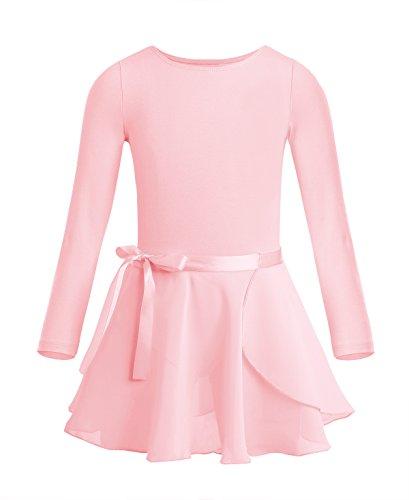 YiZYiF * Ballett Body + Ballettrock * Ballettkleid Kinder Mädchen Langarm Ballett Trikot Baumwolle Ballettanzug Ballettkleidung Set in rosa, weiß, schwarz, lila, lavendel Perle Rosa 122-128