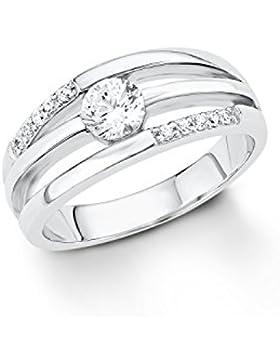 s.Oliver Damen-Ring 925 Silber rhodiniert Zirkonia weiß