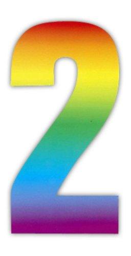 Wheelie Zahlen-Aufkleber für Mülltonnen / Hauswände / Garagentore, Regenbogenmotiv (Zwerg-lilie)