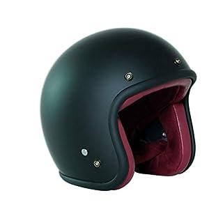 GWM Retro helmet, men and women motorcycle four seasons safety helmet electric car half-covered half helmet open motorcycle adult helmet (Color : Matte Black, Size : Xl)