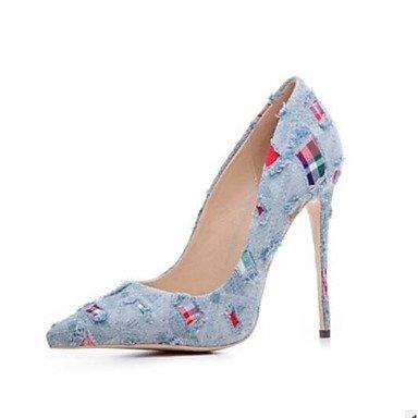 Sanmulyh Femmes Chaussures Pu Printemps Été Confort Talons Stiletto Talon Pointe Fermée Toe Pour Casual Bleu Marron Bleu