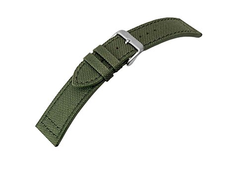 Canvas Ersatzband Uhrenarmband Band Materialmix Textil Leder 20mm 25950S, Farbe:grün - Band Leder Canvas Uhr