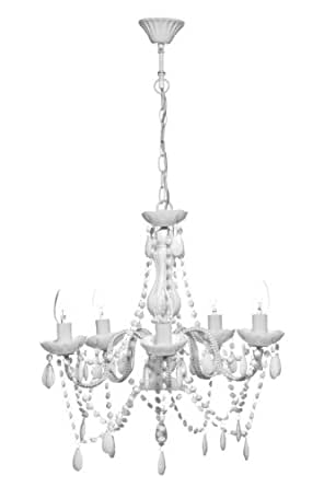 Premier Housewares 5 Arm White Chandelier with Acrylic Beads