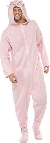 Smiffys, Unisex Schweine Kostüm, All-in-One mit Kapuze, Größe: M, (In Schwein Einem Kostüm)