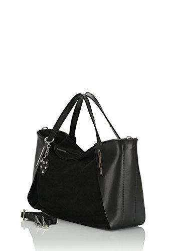 Laura Moretti - Borsa in pelle Bycast / camoscio con cuore (stile della borsa) Nero