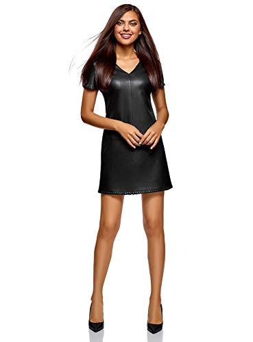 oodji Ultra Femme Robe en Similicuir à Manches Courtes, Noir, FR 38 / S