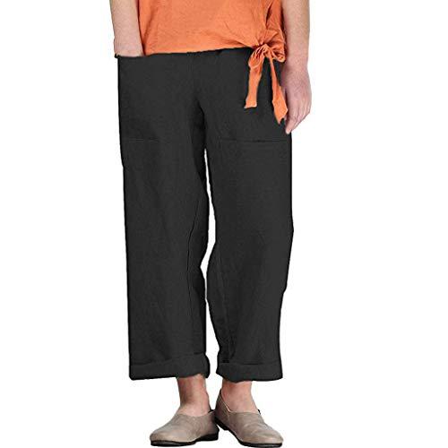 Damen Sommer Hose Atmungsaktive Sporthose Komfortable Elegant Hohe Taille Böhmen Beiläufig Strandhosen Streifen Bettwäsche aus Baumwolle Pants Lose Taschen Hosen (EU:42, Schwarz)