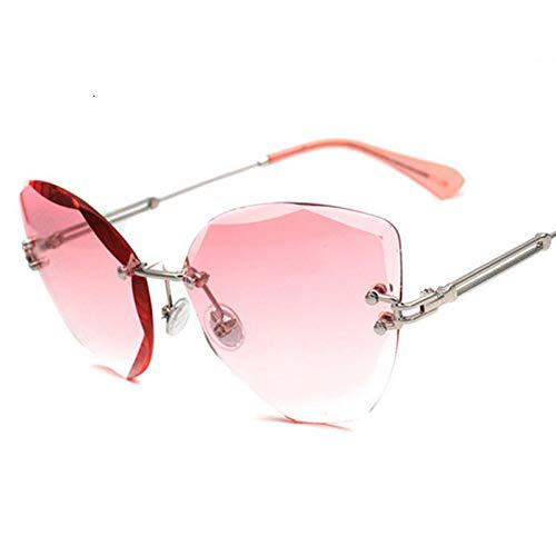 TIANKON Mode Frauen randlose Sonnenbrille Damen Cat Eye Gradient Lens Shades Uv400,Rosad