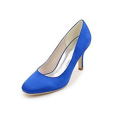 Wuyulunbi@ Scarpe donna seta Primavera Estate della pompa base Wedding scarpe tacco basso Peep toe fibbia per la festa di nozze & Sera Bianco Beige Scuro Rosso Blu Blu scuro