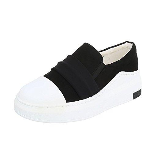 Low-Top Sneaker Damenschuhe Low-Top Moderne Ital-Design Freizeitschuhe Schwarz Weiß