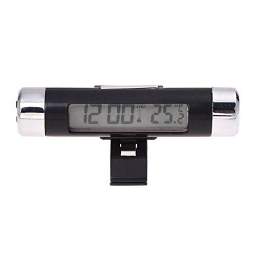 TOOGOO(R) Einfach Set Digital LCD Blau Licht Bildschirm Auto Wecker Thermometer mit Klemme