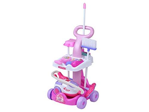 Iso Trade Putzwagen Reinigungswagen mit Staubsauger für Kinder Zubehör #4696