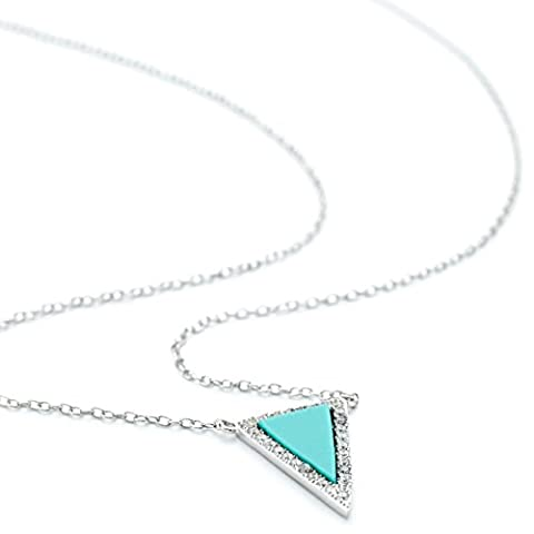 OneByOne Turquoise Crystal Triangle - Adjustable Chain Necklace in Sterling