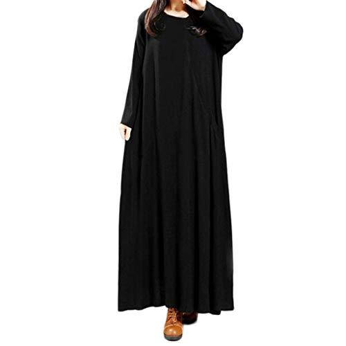 OIKAY Frauen Baumwolle Und Leinen Plus Größe Reine Farbe Tasche Lose Langes Kleid Cord-flare Jeans
