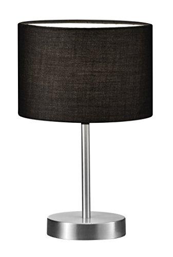 Trio Leuchten Tischleuchte in Nickel matt, Stoffschirm schwarz, exklusive 1x E14 maximal 40W, ø 20 cm, Höhe: 32 cm 501100102 (Moderne Ist Tischleuchte, Deckenfluter)