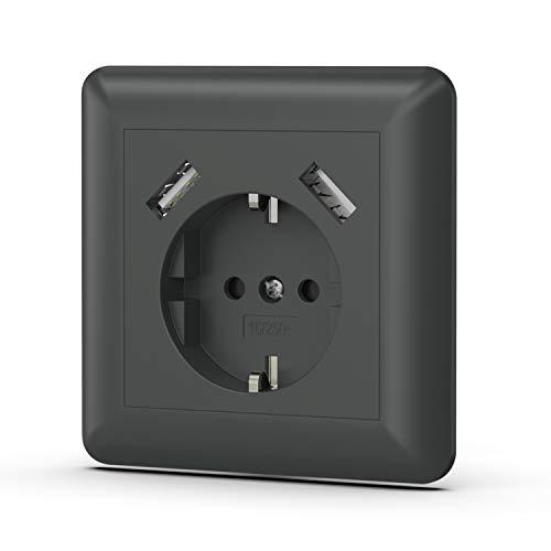 Urhome 1x Enchufe de Pared con 2 Puertos USB, Toma Schuko empotrada...