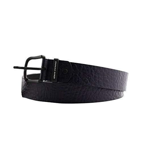 ARMANI EXCHANGE Cintura uomo pelle croco blu scuro navy, chiusura con fibbia in acciaio nero. TAGLIA 50/40 XX-LARGE