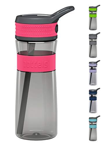 boddels Trinkflasche EEN 600ml - Deine Wasserflasche für jeden Tag (Himbeerrot / Grau)