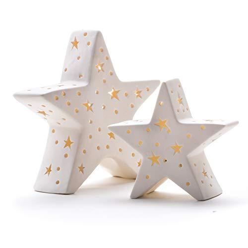 DARO DEKO Porzellan Stern weiß mit LED im Set L + XL