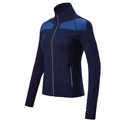Feuchtigkeit Wicking Golf Polo (Empirelion Damen Laufjacke, langärmelig, reflektierender Reißverschluss, Navy Melange, XS)