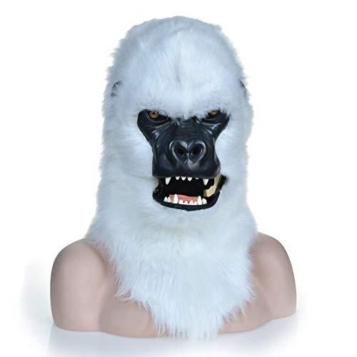 RONGLINGXING Weiße Gorilla-Kopfmaske, Maskerade Halloween-Karneval-Geburtstagsfeier-Kostüm-realistische handgemachte kundengebundene Tiercosplay-bewegliche öffnung mit dem Pelz verziert (Realistische Gorilla Kostüme Erwachsene)