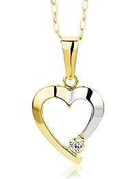 Miore Damen-Halskette Herz 375 Gelbgold 1 Zirkonia farblos 45 cm