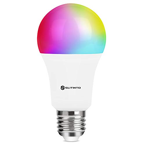 Smart WLAN LED Lampe Glühbirne Dimmbare 9W 1000Lm, SLITINTO E27 Intelligente Multicolor Birne Bulb Kompatibel mit Alexa, Google Home und IFTTT, A19 90W Gleichwertige RGB Farbwechselbirne, 1 Pack