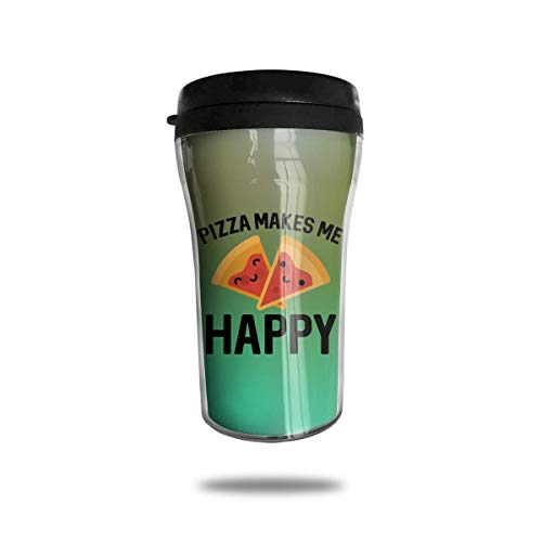 Bgejkos Pizza Make Me Happy 8.45oz Coffee Mug Birthday Gifts Insulated Tea Cup Leakproof 16 Oz Sip-top