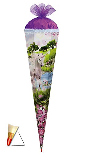 3-D Schultüte - Einhorn 85 cm 6 eckig - mit Holzspitze / Tüllabschluß und Glitzer - Zuckertüte Roth Pferd Einhörner Glitzer Glitter Borte