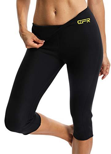 FITTOO Damen Neopren Schwitzhose zum Training, Figurformende Capri für Yoga Joggen, Sport Mädchen Abnehmen Schlanke Fitnesshose Schwarz Large -