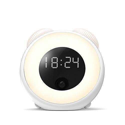 SHIERDIAN Smart Wecker, LED Nachtlicht Kreative und einfallsreiche Nachttischlampe Romantische Schlaflampe Alarmleuchte Leuchtet mit Sensor, Weiß -