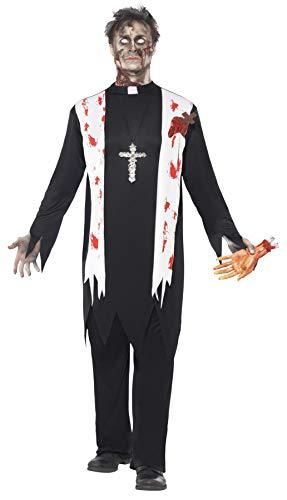 Party Kostüm Zombie - Smiffys Herren Zombie-Priester Kostüm, Oberteil mit Schal und Latex-Wunden, Kragen und Hose, Größe: L, 38878
