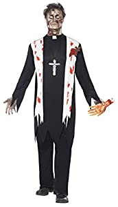 Smiffys Disfraz de Cura Zombi, con Parte de Arriba con Sangre, Herida de látex, Cuello y