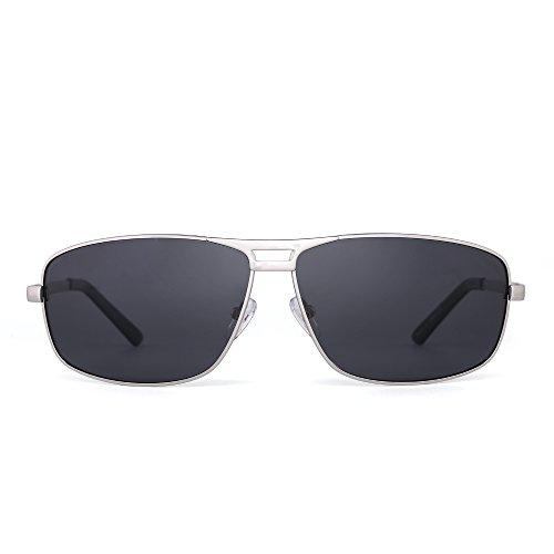 Polarisiert Rechteck Sonnenbrille Aviator Federscharnier Fahren Brillen Dame Herre(Silber/Polarisiertes Grau)
