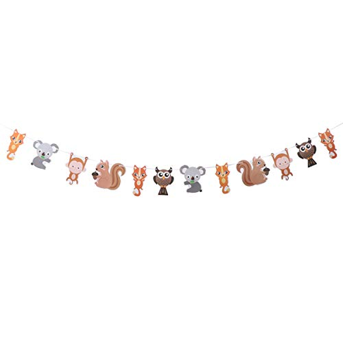 Amosfun Woodland Creatures Papier Banner Wald Tier Freunde hängende Girlande Party Supplies Baby Shower Dekoration