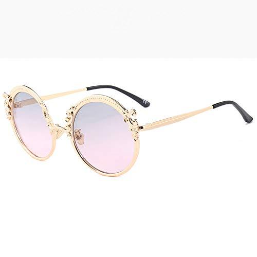 SYQA Sonnenbrille Mode Steampunk Runde Sonnenbrille Frauen Männer Gold Frame Vintage Sonnenbrille Damen Uv400,C2