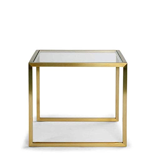 Eisen-glas Beistelltisch (SCDCTG Moderne beistelltisch Einfachheit Eisen Kunst Glas kreative Sofa beistelltisch ecktisch kleinen couchtisch quadratischen Tisch Wohnzimmer Schlafzimmer kleinen teetisch)