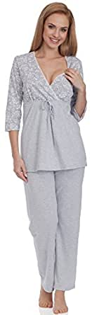 Be Mammy Donna Pigiama per Allattamento BE20-121 (Grigio, XL)