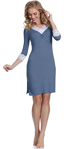Merry Style Damen Nachthemd MS10-112 Jeans/Weiß
