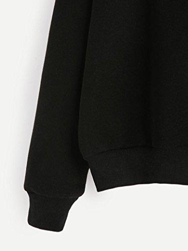 Ouneed® Femme Imprime Sweat- Shirt sans capuche Taille 40 - 44 Noir