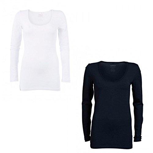 ONLY Damen Langarmshirt, 15060054 Live Love O-Neck (L, Weiß (WHITE))